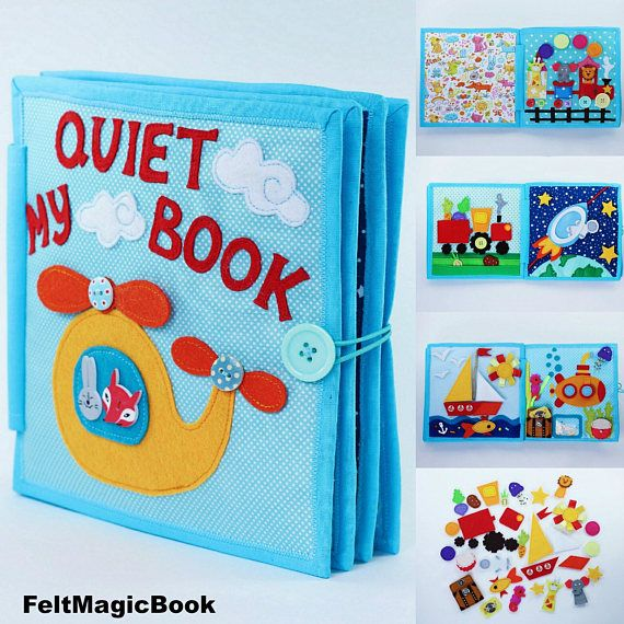 Busy Book | Quiet Book | Felt Busy Book | Toddler book | Activity Book | Fabric quiet book | Gift for Kids  ♥ Creative and unique gift idea for kids! ♥  ♥ This soft baby book offers hands-on experience in recognizing shapes, buttoning, snapping, braiding, and distinguishing textures. This is a good sensory toy for the baby helping to develop the fine motor and cognitive skills, color and form identification, behavior and mental logic, as well as imagination. ♥  ♥ This book is essential in…