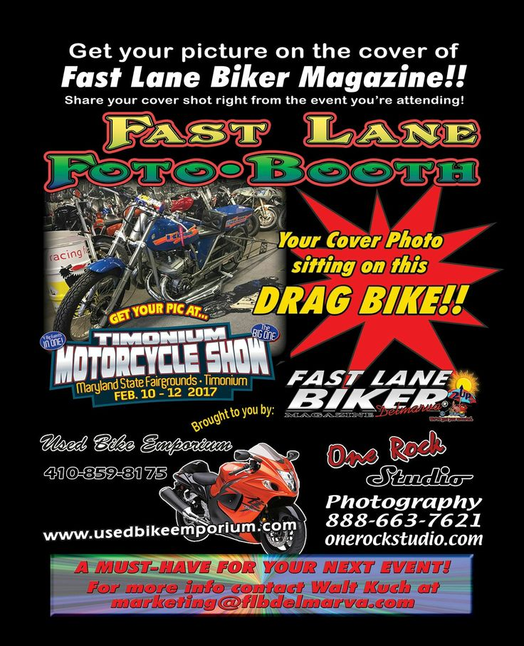 #flbd will again offer FREE photo booth photos at the #timoniummotorcycleshow on a custom drag bike. Share on the spot to   social media. You might be featured in FLBD! Courtesy of #onerockstudio. #bikermagazine #bikersofpinterest  #marylandbikers #delawarebikers #virginiabikers #baltimorebikers #bikers #motorcycle #pabikers