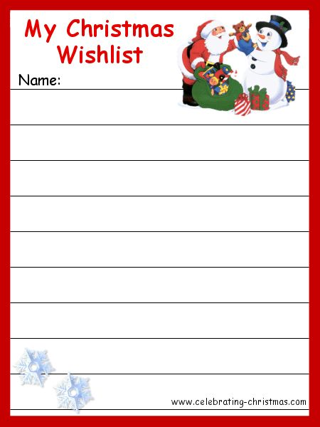 christmas printables | ... sized wish list. The printable wish list will open in a new window