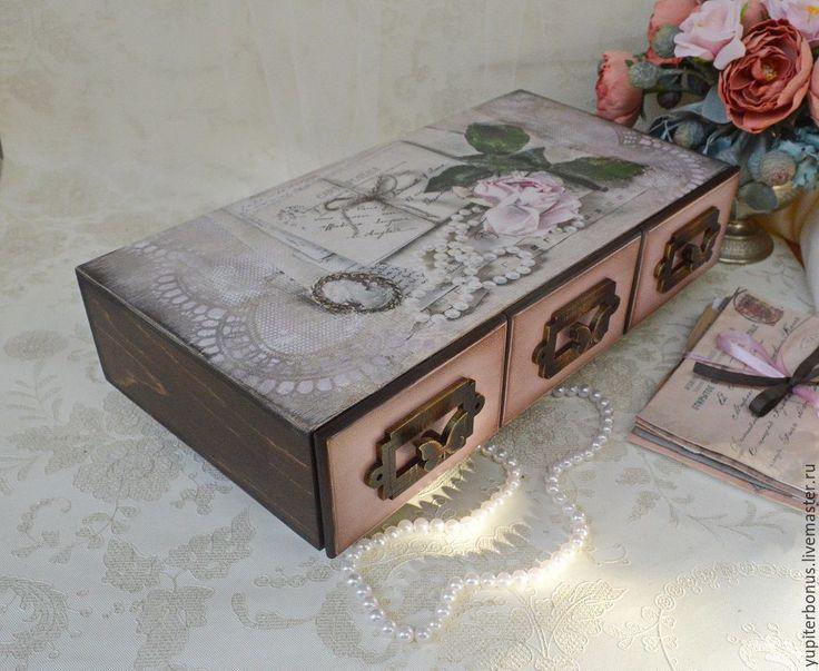 """Купить Комод """"Старые письма"""" - розовый, коричневый, комод, комодик декупаж, комодик для украшений"""