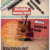 Flyer aulas de Música, Piano, Violino, Violoncelo e Produção Musical.