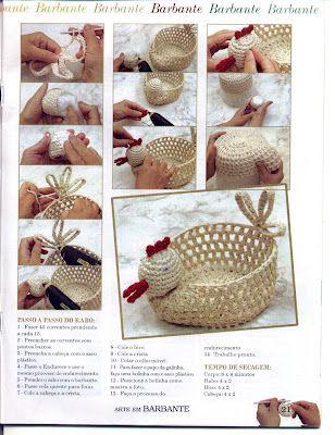 """"""" MOSSITA BELLA PATRONES Y GRÁFICOS CROCHET """": Crochet Easter Basket, Cesta de gallinita a crochet!!!"""