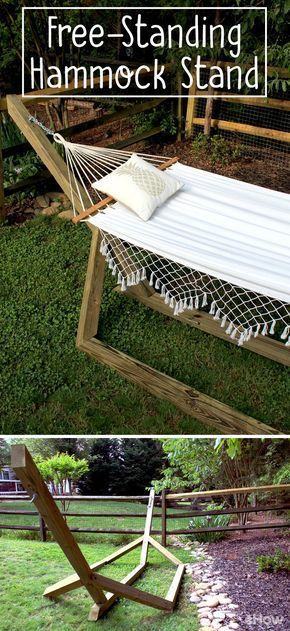 """Hammocks make for the ultimate backyard """"staycation."""" Nothing says summer quite like reading a book in a hammock! This free-standing wood hammock stand uses basic, pressure-treated wood posts, deck screws, and 45-degree angles to create a custom-looking stand for about $60 — much less than the average cost of a store-bought hammock base! This project creates a hammock base that's 13-feet long from eye bolt to eye bolt, making it the perfect length for 11-foot-long hammocks."""