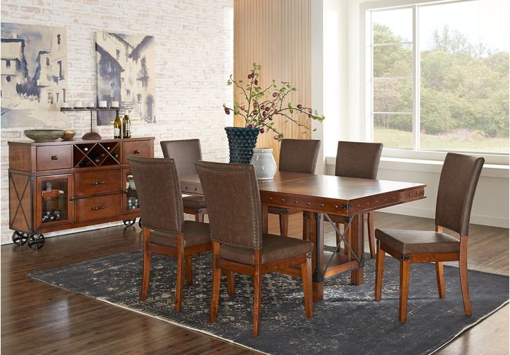 Shop For A Cindy Crawford Home Key West Dark Pedestal 5 Pc Dining Room At Rooms To Go Find Sets That Will Look Great In Your An