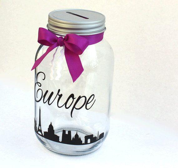 Europe Mason Jar Bank Coin Slot Lid Large Quart by MyKindofKrafty