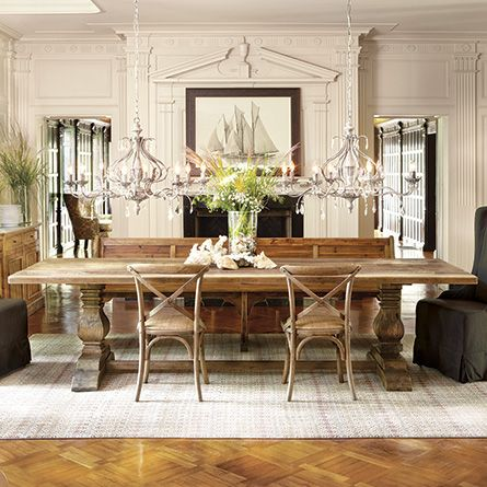 Kensington Dining Table | Each plank of reclaimed wood in our Kensington Table has made a winding journey around the world. Like well traveled companions, these tables are characterized by distinctive knots and joint lines.