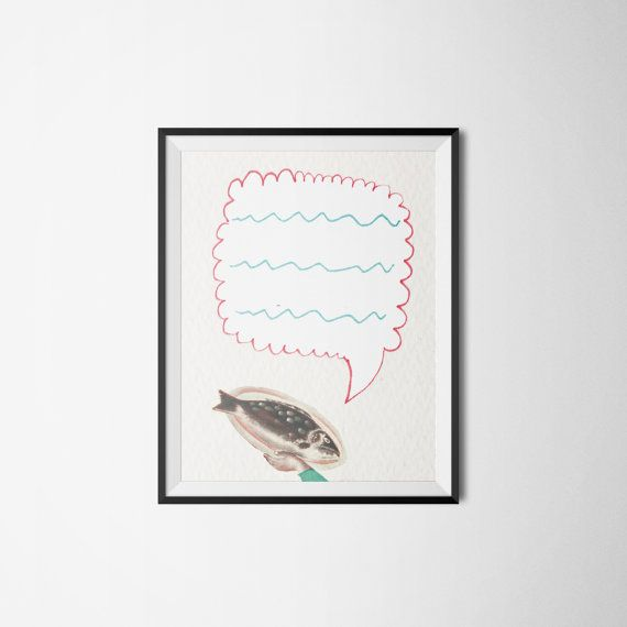 Handmade Illustration carp fish  needs to speak by DwieLeweRece