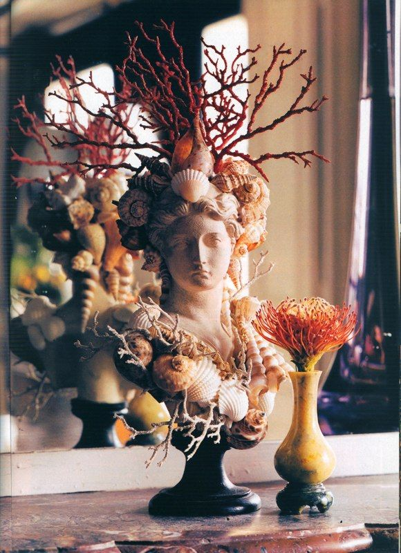 Wonderful Shell and Coral Encrusted Bust