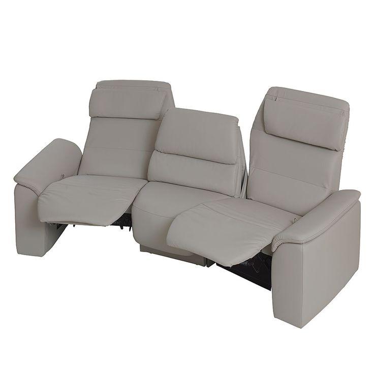 Trapezsofa Shuttle (3-Sitzer) - Echtleder Grau - Mit Relaxfunktion ...