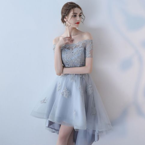 Gray lace tulle short prom dress, homecoming dress from Little Cute