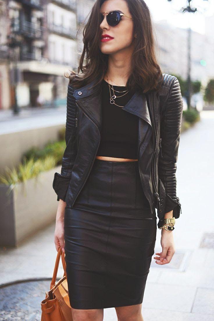 Look all black, todo preto, jaqueta de couro, saia de couro