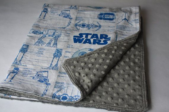 This baby blanket features an awesome Star Wars schematic print with charcoal grey super soft minky polyester back. Perfect for the crib, to use for