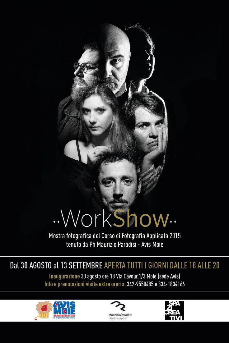 Visual del manifesto e copertina dell'impaginato dedicato al racconto del corso di fotografia applicata in studio 2015, tenuto da Maurizio Paradisi e realizzata grazie ad Avis Moie