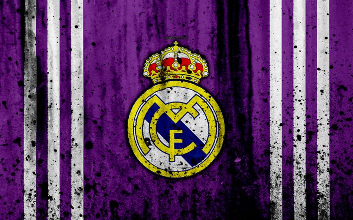 Download wallpapers Real Madrid, 4k, grunge, La Liga, Galacticos, purple background, soccer, football club, LaLiga, Real Madrid FC