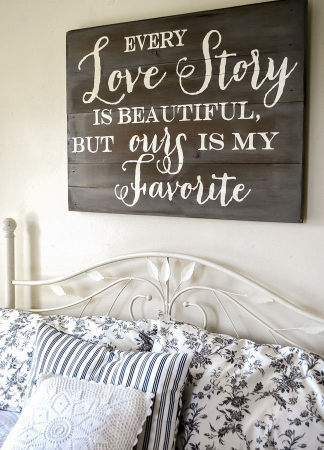 """""""Love Story"""" Wood Sign {customizable} - Aimee Weaver Designs. Perfect for the bedroom"""