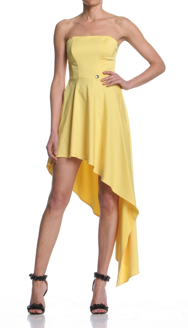 Corselet dress and side tail peplum. http://shop.mangano.com/en/dresses/16560-abito-menson.html  #dress #apparel #clothing #woman #yellow #mangano