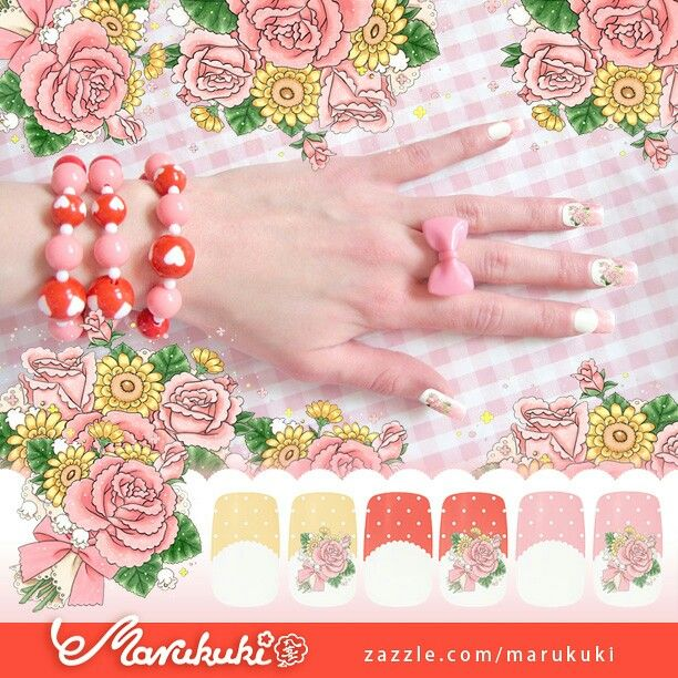 Bouquet ♡ http://www.zazzle.com/marukuki  #nailart #nail #nails #ネイルサロン #ネイル #ネイルアート #kynnet #beauty #fashion #lolita #egl #gyaru #ロリィタ #ギャル #himegyaru #姫ギャル #ビューティー #eglcommunity #eglfinland