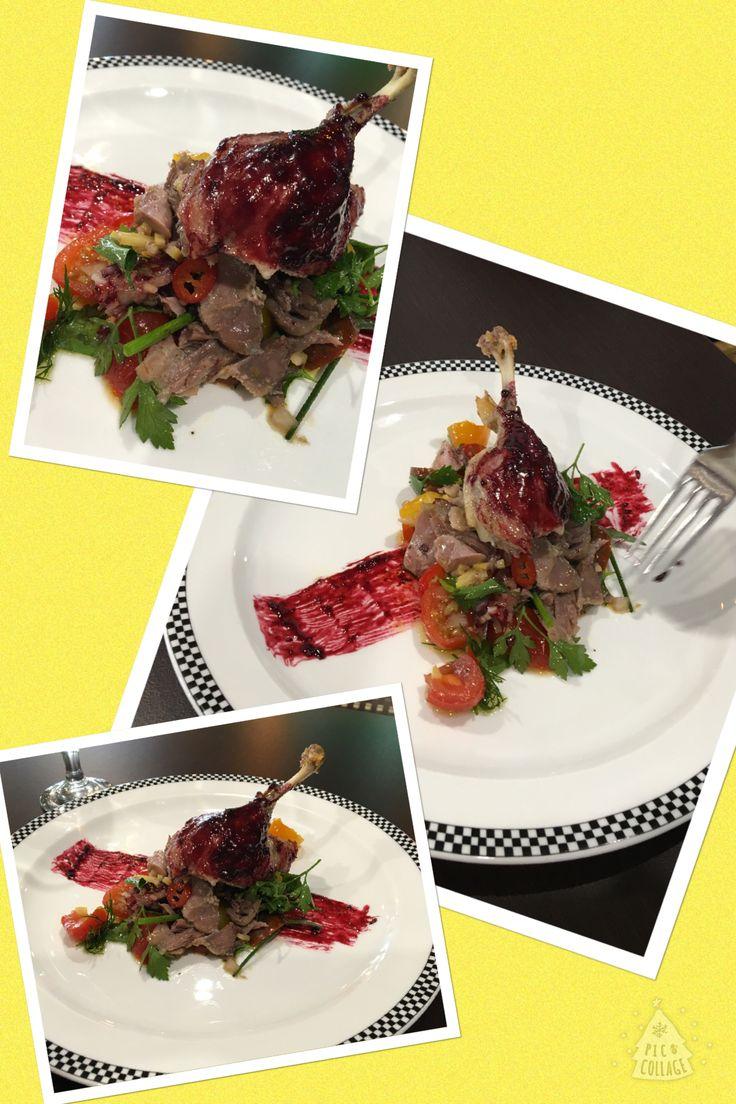 Confit Duck Salad with a Blueberry Gastrique
