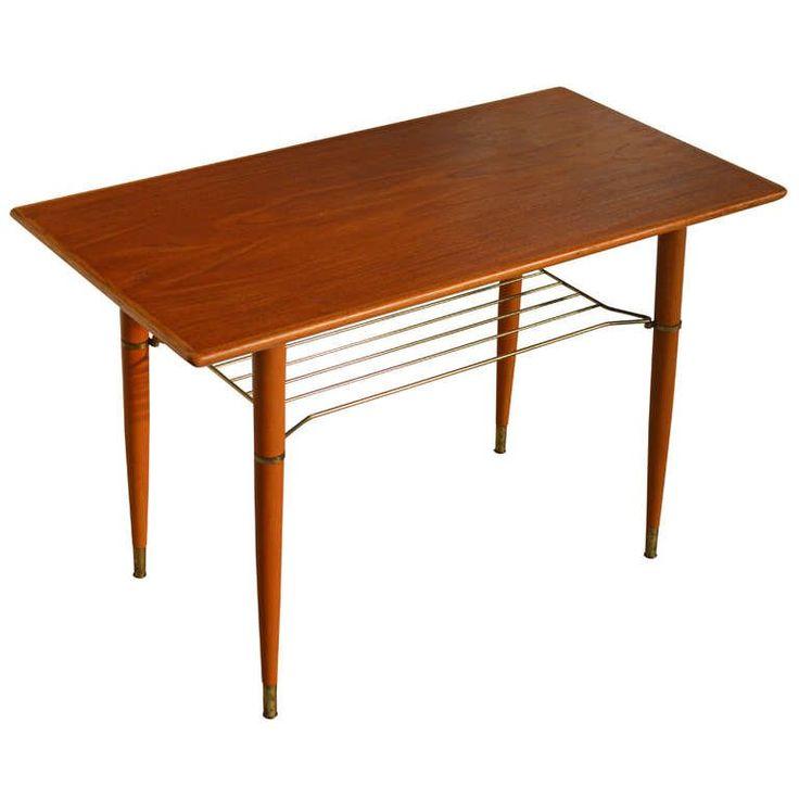 Swedish Mid Century Modern Teak Table with Brass Shelf ...