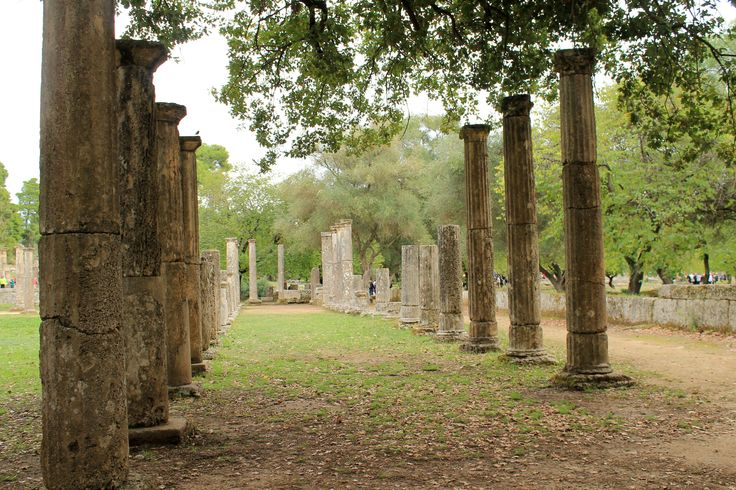 Columns of the Palaistra, the Ancient Olympic training ground for boxing, wrestling and jumping. Olympia, Peloponnese, Greece.
