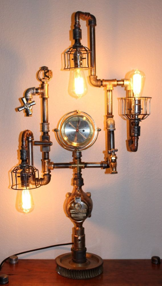 Steampunk Lamp Clock Industrial Edison Repurposed Brass