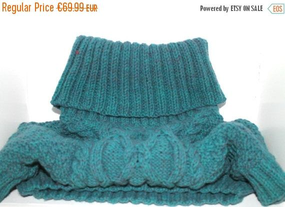 Sale Hand Knitted Sweater Wooly Jumper Short by CelticKnittingCo