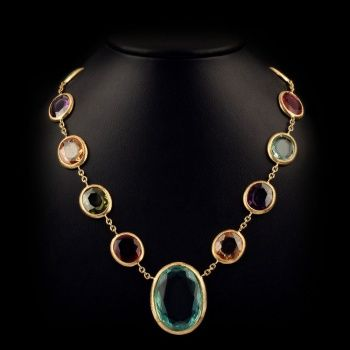 #Gold plated multicolored #necklace with stones. Available in Gold, pink and white-rhodium plated. 42cm lenght.
