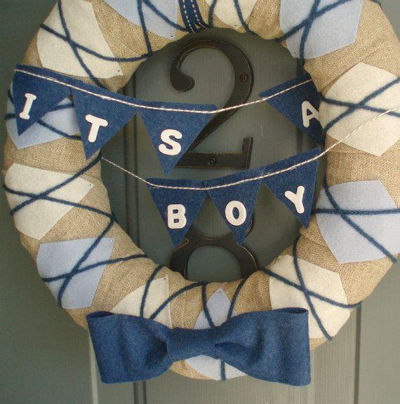 Door Wreaths New Baby Boy | Yarn Wreath Handmade Front Door Baby Boy 12in. by ItzFitz on Etsy
