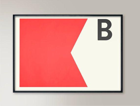 Navy Signal Print, Letter B, Nautical Flags, Naval Signal, Nautical Art, Nautical Sign, Navy Sign, Naval Flag, Maritime Flag, Beach Art