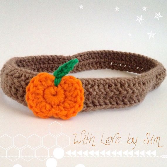 Orange Pumpkin Fall Crochet Headband on Etsy, $9.50 | Knit and Crochet ...