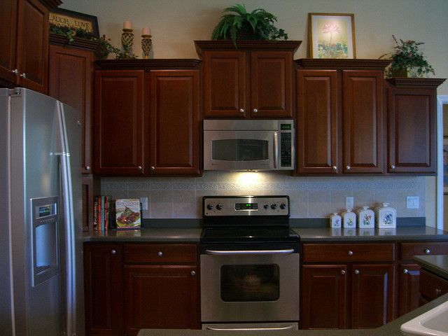 42 Inch Cherry Kitchen Cabinets Kitchen With 42 In Upgraded Cherry Cabinets And