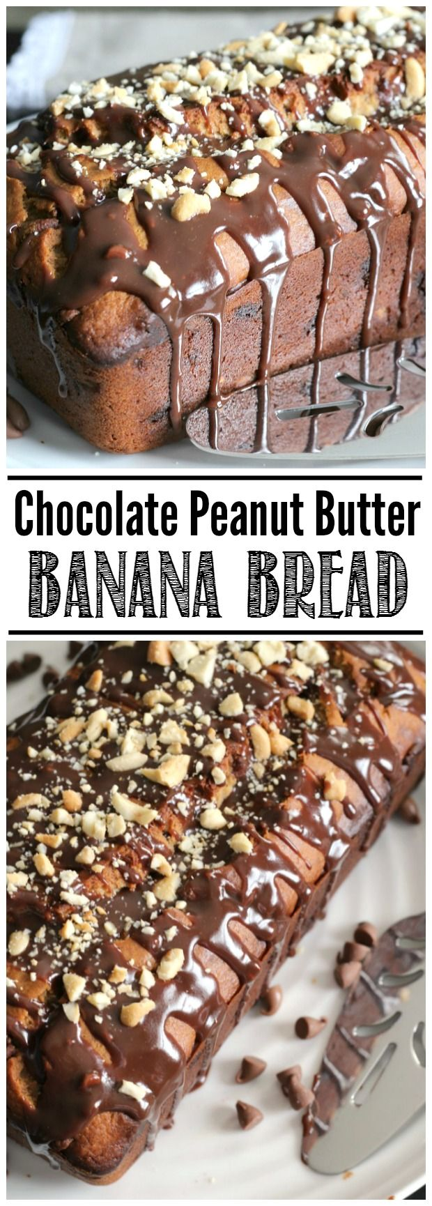 Easy chocolate peanut butter banana b0read with a chocolate glaze. My favorite banana bread recipe!