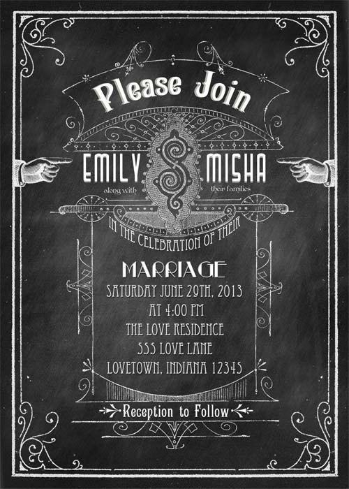 Old School - Printable DIY Chalkboard Art Deco Vintage Modern Wedding Invitation Suite - Victorian Typography  -  Personalized Invitation
