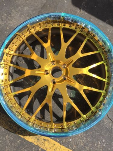 """Front - 22"""" x 9"""" Rear - 22"""" x 10.5 Drilled for a 5x120 Bolt Pattern Translucent GOLD CENTER with Chrome OR Polished Lip Lip Sizes Available from 2""""-6"""" Inches ! Assembly Bolts Available in Multiple Col"""