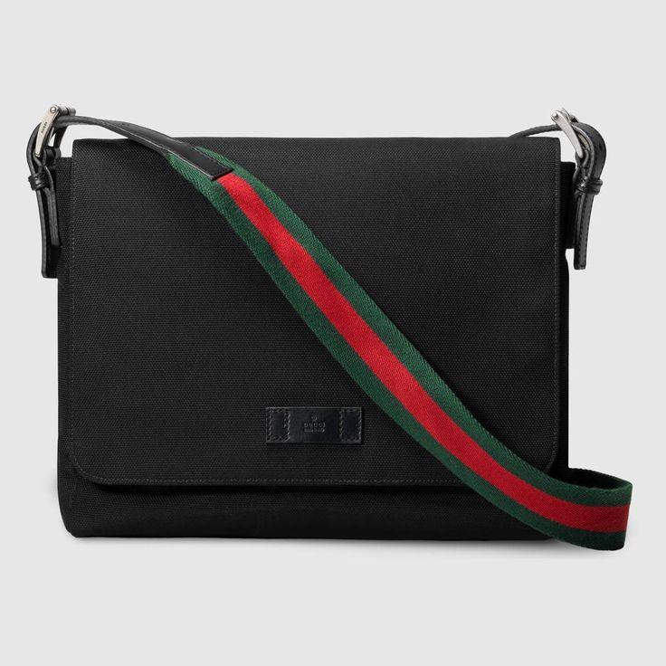 GUCCI Techno canvas messenger bag - black techno canvas. #gucci #bags #shoulder bags #leather #canvas #nylon #lining #