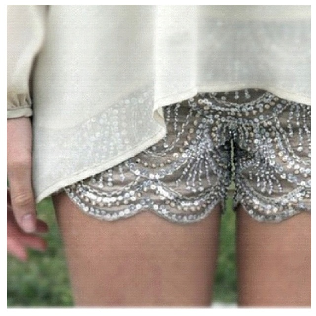 Cute sequined lace dressy shorts! I would never wear them, and they're way too short...but cute!