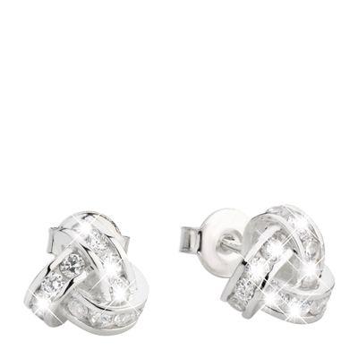 Zilveren oorbellen knoop met zirkonia (1013545)