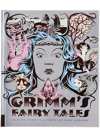 Illustrated Grimm's Fairy Tales Book by Chronicle Books, Books, Gray,Multi, Fairytale, Brother's Grimm, Stories, Red Riding Hood, Cinderella, Snow White, Macabre, Spooky, Classics Reimagined, Hardcover, Yann Legendre, Artwork