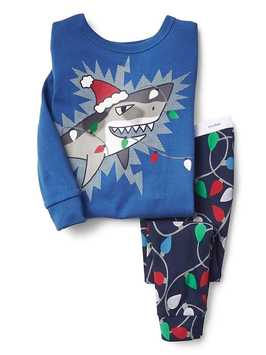 Gap Baby Festive Shark Sleep Set Blue Streak