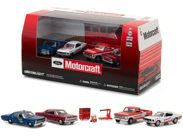 Ford Motorcraft Garage 7pc Set Multi Car Diorama 1/64 Diecast Model Cars by Greenlight