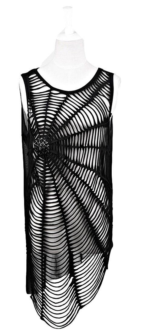 Amazon.com: Blooms Punk Women Spiderweb Hole Sleeveless T-Shirt Vest Top: Clothing