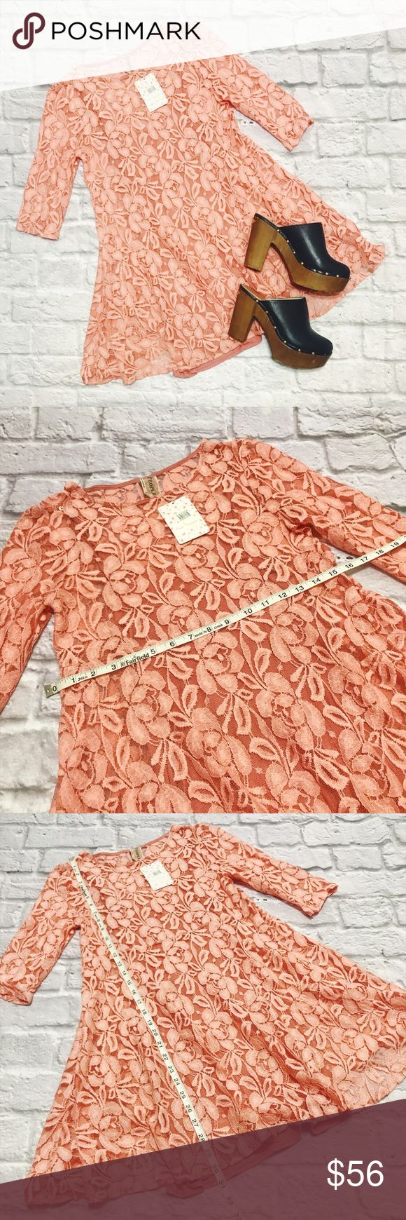 NWT Free People Crochet Mini Dress In Apricot NWT Free People Crochet Mini Dress In Apricot condition: NWT (new with tags) color: apricot (orangish peach/pink color, mostly orange looking!) fit: true to size other: Has slip inside Free People Dresses Mini