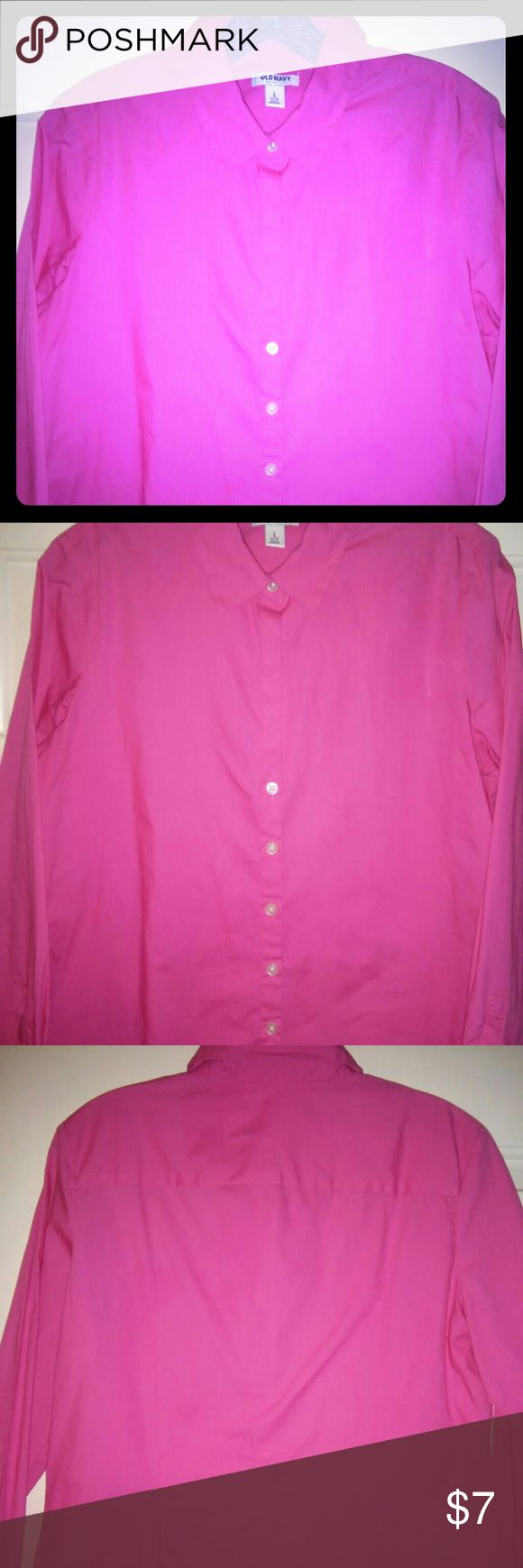 Old Navy Hot Pink shirt Add some brightness to your work outfit. Hot pink 100% cotton, front button shirt features two button cuffs and slight princess seaming in back for a closer fit. 23 inch length from collar to hem, 21 inch sleeves. Good used condition, no stains or damage. Machine wash, tumble dry. Old Navy Tops Button Down Shirts