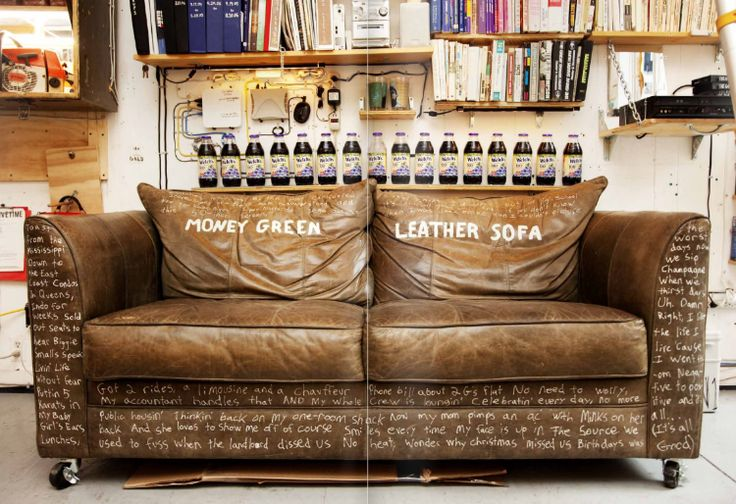 "Money Green Leather Sofa, complete with lyrics of ""Juicy"" by Biggie - Never wanted/needed anything so bad!!!"
