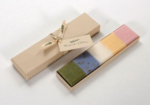 beautiful soap packaging- for the samples, this could be lovely... Use wax paper between?
