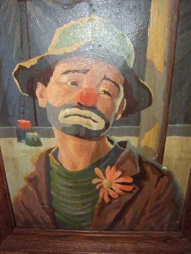 icollect247.com Online Vintage Antiques and Collectables - Paint By Numbers Emmett Kelly Painting Framed