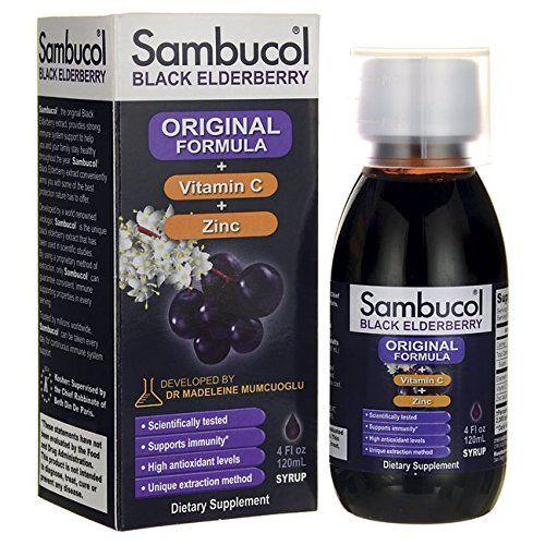 Sambucol Black Elderberry Original Formula  Vitamin C  Zinc Syrup 4 fl oz (120 ml) Liquid