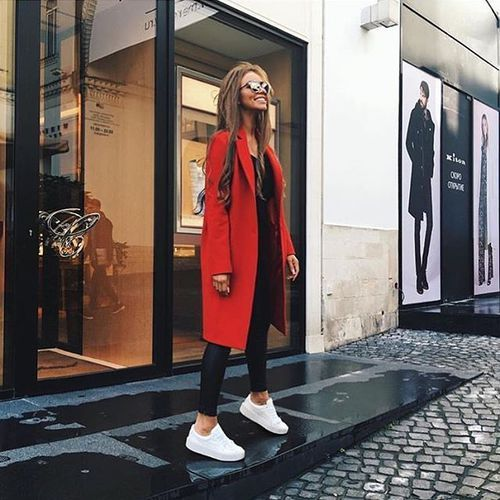 fashion, style, black and red outfit with white sneakers