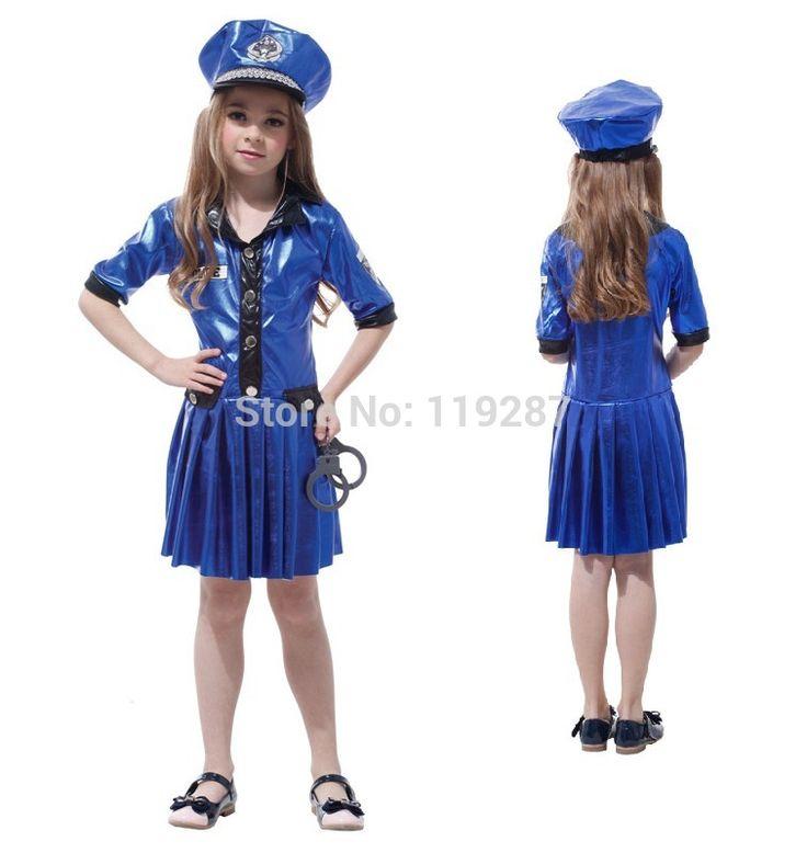 Kids Police Costume Policewoman Costume For Girls Fantasia Infantil Halloween Fancy Costume For Girls Performance Children #Affiliate