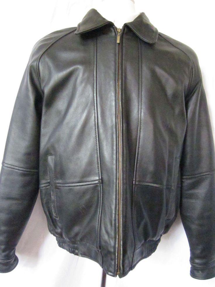 Coat Leather Black Cherokee Large Bomber Aviator Jacket Quilted Lining Mens - eBay Seller Username janna!